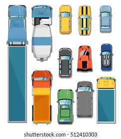 Car and truck top view vector illustration. Commercial freight truck, tipper, concrete mixer,