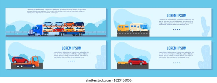 Car truck trailer vector illustration set. Cartoon flat auto transportation banner collection with asphalt road landscapes and different transport car van, semitrailer or towtruck driving on highway