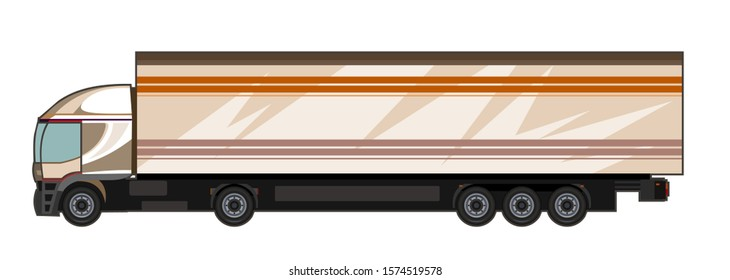 Car truck. Vector. Cartoon. Flat. Large truck for transporting goods. Freight transportation Auto transportation. Delivery of cargo. Sending a truck. Logistics of cargo transportation. Cargo transport