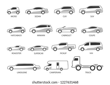 Car Type and Model Objects icons Set . Vector illustration isolated on white background with shadow. Variants of automobile body, car silhouette for web, template.