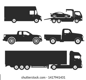 Car Type and Model Objects icons Set . Vector black illustration isolated on white background with shadow. Variants of automobile body silhouette for web