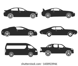 Car Type and Model Objects icons Set . Vector black illustration isolated on white background. Variants of automobile body silhouette for web.