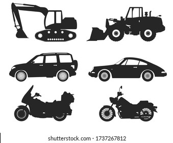 Car Type and Model Objects icons Set. Vector black illustration isolated on white background. Variants of automobile body silhouette for web