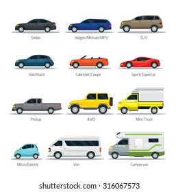 Car Type and Model Objects icons Set, Multicolor, Automobile