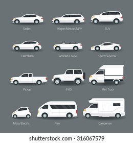 Car Type and Model Objects icons Set, White Body Color, Automobile