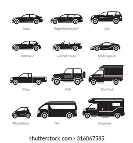 Car Type and Model Objects icons Set, Black and white, Silhouette, Automobile