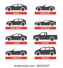 Car Type and Model Objects icons Set, automobile. Vector black illustration isolated on white background with shadow. Variants of body silhouette for web.