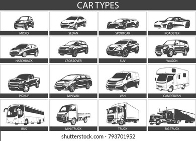 Car Type and Model Objects icons Set . Vector black illustration isolated on white background. Hand drawn illustration.
