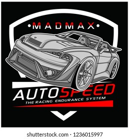car typography design,vector graphic illustration