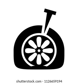 car tyre hole repair icon, Drawing of the tire