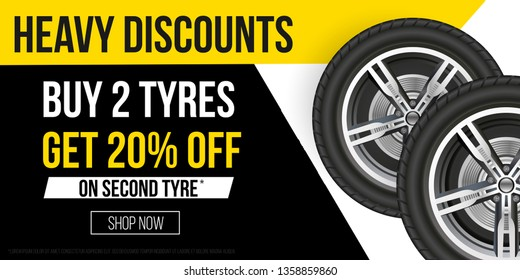 Car Tyres For Sale Camberley, Car Tyres Promotion Banner Realistic Tyres With Promo Text For Flyers Banners Etc, Car Tyres For Sale Camberley