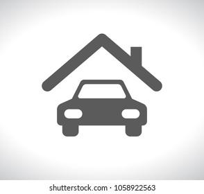 car under house roog concept icon