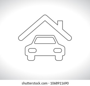 car under roof outline icon