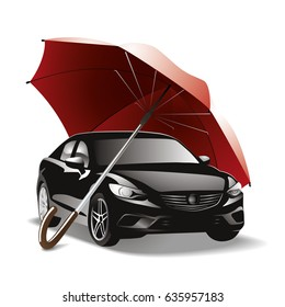 Car under umbrella. Expensive, black car under a red umbrella. Auto insurance, vector design for a poster, flyer, banner.