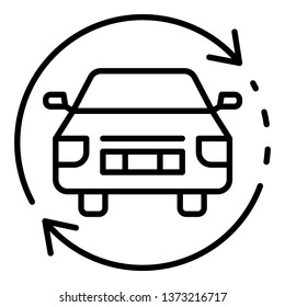 Car update firmware icon. Outline car update firmware vector icon for web design isolated on white background