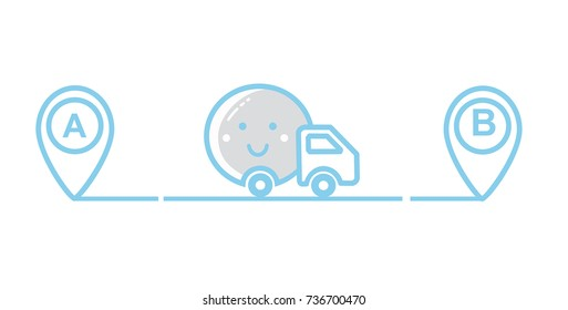 Car. Van. Point A to point B with road. Vector illustration