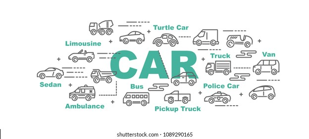 car vector banner design concept, flat style with icons