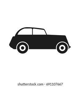 Car Vector black icon on white background.