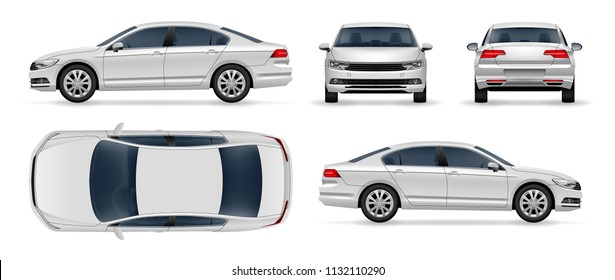 Car Vector Business Sedan Isolated On White Background. Side, Top, Front, Back view For Branding Mockup Vehicle.