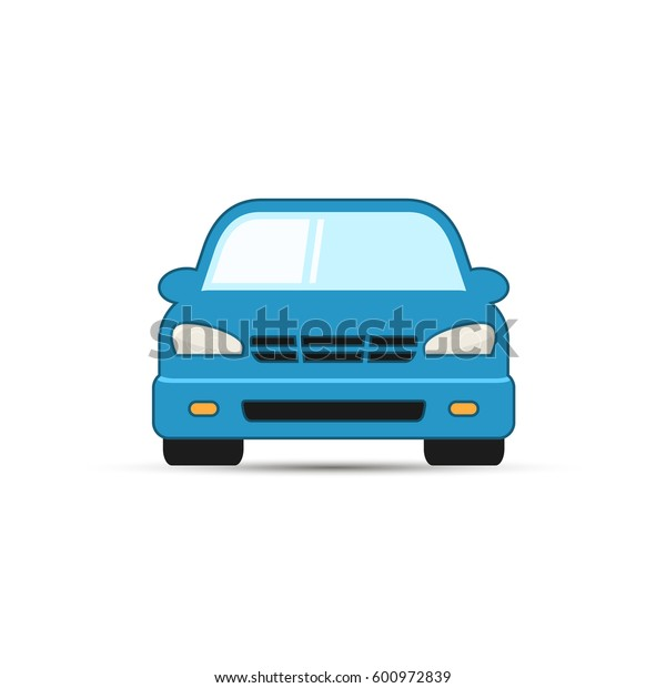 Car vector illustration, front view. Simple blue car icon.