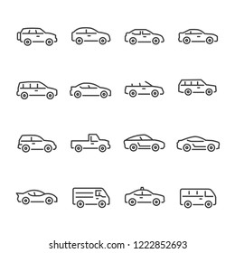 Car vector line icon set