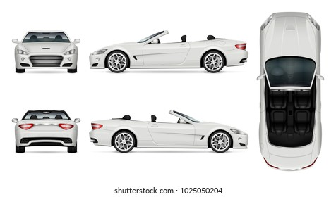 Car vector mock-up. Isolated template of cabriolet car on white. Vehicle branding mockup. Side, front, back, top view. All elements in the groups on separate layers. Easy to edit and recolor