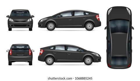 Car vector mock-up. Isolated template of grey automobile on white. Vehicle branding mockup. Side, front, back, top view. All elements in the groups on separate layers. Easy to edit and recolor.