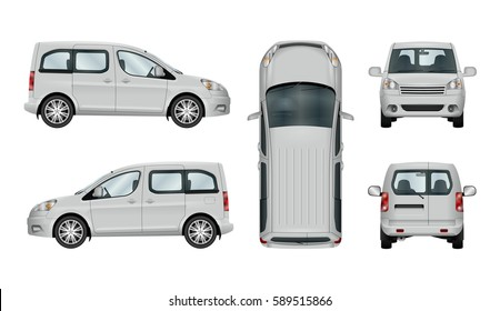 3cd407395cc5 Car vector mock-up. Isolated template of van on white background. Vehicle  branding