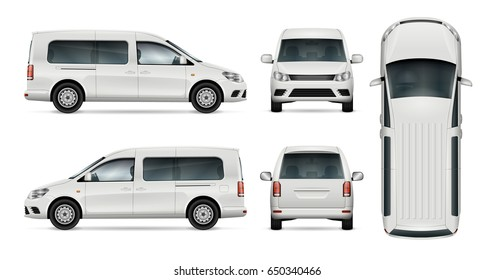 Car vector mock-up. Isolated template of minivan on white background. Vehicle branding mockup. View from side, front, back, top. All elements in the groups on separate layers. Easy to edit and recolor