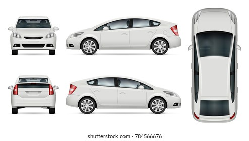 Car vector mock-up. Isolated template of car on white background. Vehicle branding mockup. Side, front, back, top view. All elements in the groups on separate layers. Easy to edit and recolor.