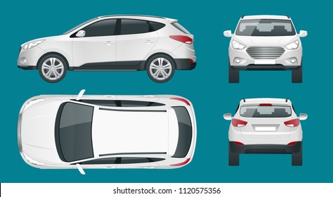 Car vector template on white background. Compact crossover, SUV, 5-door station wagon car. Template vector isolated. View front, rear, side, top.