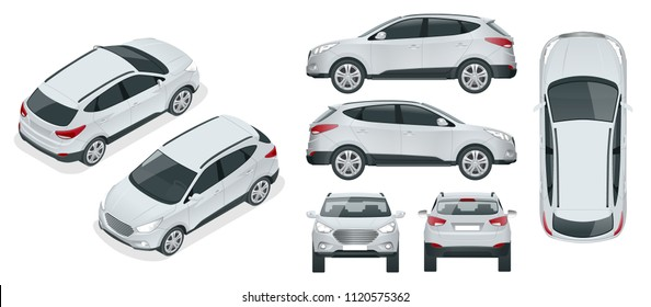 Car vector template on white background. Compact crossover, SUV, 5-door station wagon car. Template vector isolated. View isometric, front, rear, side, top.