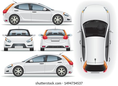 Car vector template on white background. Business hatchback isolated. Vehicle branding mockup. Side, front, back, top view.