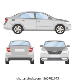 Car vector template on white background. Business sedan isolated. grey sedan flat style.