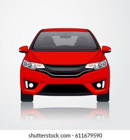 Car Vector Template on White Background. Business sedan isolated. Hatcback Model or Short Sedan.