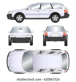 Car vector template on white background. Station wagon isolated. All layers and groups well organized for easy editing and recolor. View from side, front, back and top. Vector illustration.