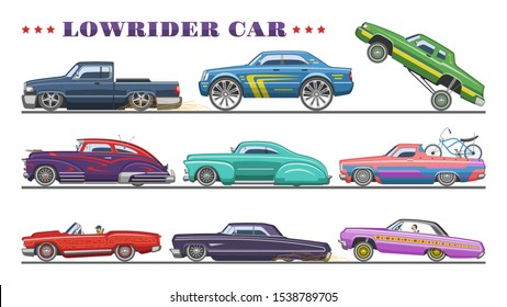 Car vector vintage low rider auto and retro old automobile transport illustration set of classic lowrider muscle vehicle rod transportation isolated on white background.