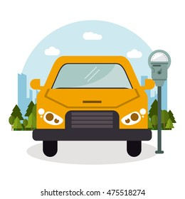 car vehicle auto payment machine parking zone park space road sign street icon. Colorful and flat design. Vector illustration