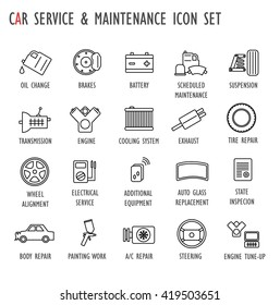 Car / vehicle / auto service & maintenance icon set (brakes,oil change,scheduled maintenance,suspension,transmission,engine,cooling,electrical,tire,replace,steering,exhaust,body repair)