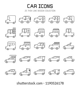car and vehicle icon set, line design
