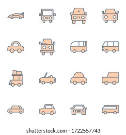Car, vehicle icon set. Simple cars icon sign concept. vector illustration.