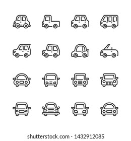Car vehicle icon set.Vector illustration
