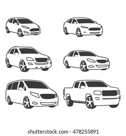 Car vehicle icons set. Linear style. vector