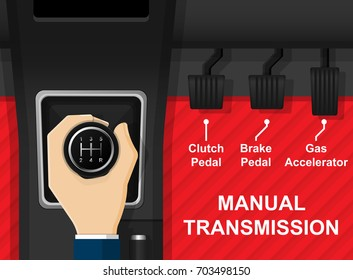 Car Vehicle Manual Transmission Driving Change Gear by Clutch Gear Stick Shift Selector