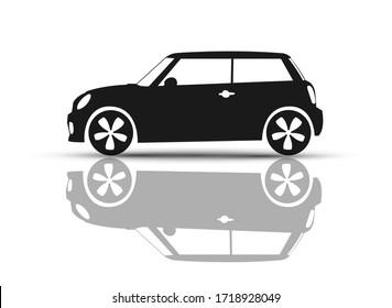Car Vehicle Mini Back and White British hatchback logo illustration