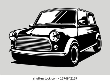 Car Vehicle Mini Cooper Black and White British hatchback vector illustration