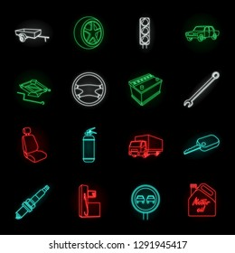 Car, vehicle neon icons in set collection for design. Car and equipment vector symbol stock web illustration.