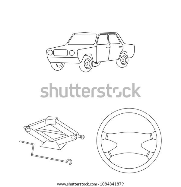 Car, vehicle outline icons in set collection for design. Car and equipment vector symbol stock web illustration.