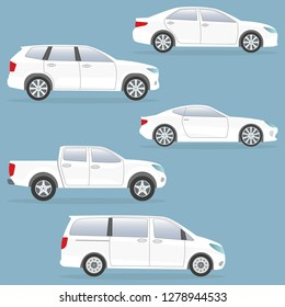 Car or vehicle set. Side view. Different type of cars: sedan, suv, van, pickup, coupe. Vector illustration.