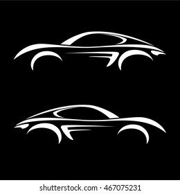 Car vehicle silhouette icons vector.